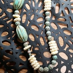 Long Beaded Necklace Faux Patina